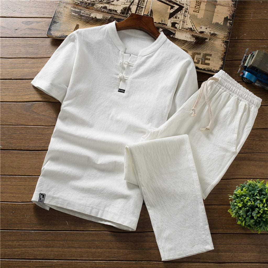 Yellsong Mens Short-Sleeved Summer Suit Leisure Loose Comfortable Breathe Freely