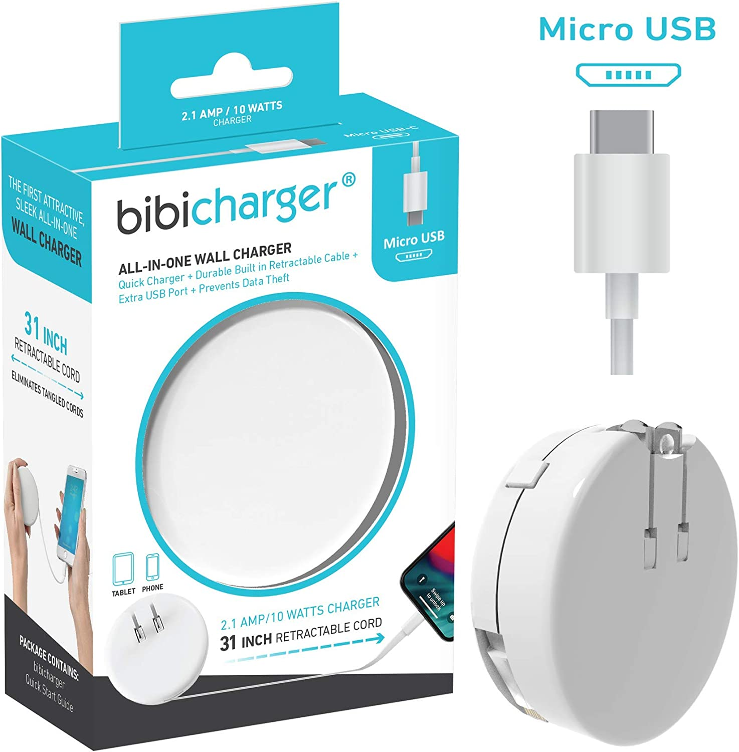 Sleek /& Compact for Travel Addition USB Port Bibicord Bibicharger USB C 2.6 ft Retractable Charger Phone /& Tablet Not for Apple