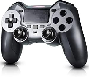 PS4 Controller, Diswoe Wireless Controller for Playstation 4/3/Pro/Slim/PC, Touch Panel Gamepad with Dual Vibration and Audio Function, Gyro and Mini LED Indicator
