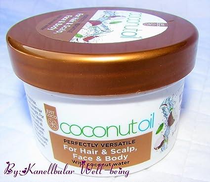 Aceite de coco cara cuero cabelludo cuerpo de pelo con agua de coco. Perfectamente multitarea
