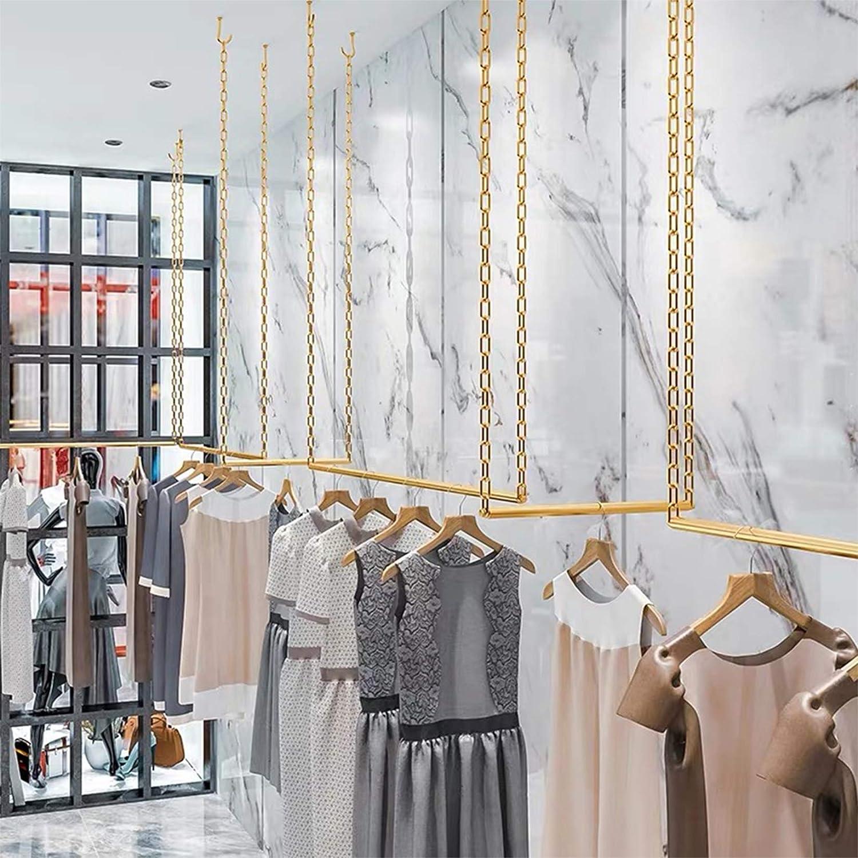 FURVOKIA 2 Pcs Adjustable Height Creative Iron Chain Clothing Hanging Racks,Clothes Storage Shelves, Heavy Duty Metal Garment Rack,Retail Display Ceiling Hanger (Gold, 47.2 L)