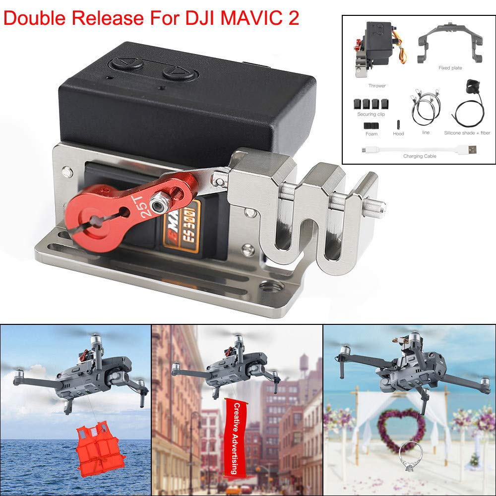 Fullwei Upgraded Double Release Thrower Servo Controlled Dropper Device For DJI Mavic 2 Pro/Zoom Drone Dropping System (Black)