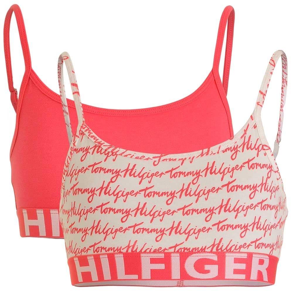 Tommy Hilfiger Girls 2 Pack Bold Bralette, Rouge Red/Logo Print