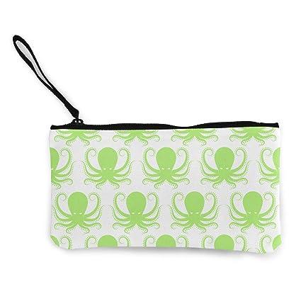 21f9ea702b86 Amazon.com: XUJ YOGA Women Girls Change Purse Green Octopus Printed ...
