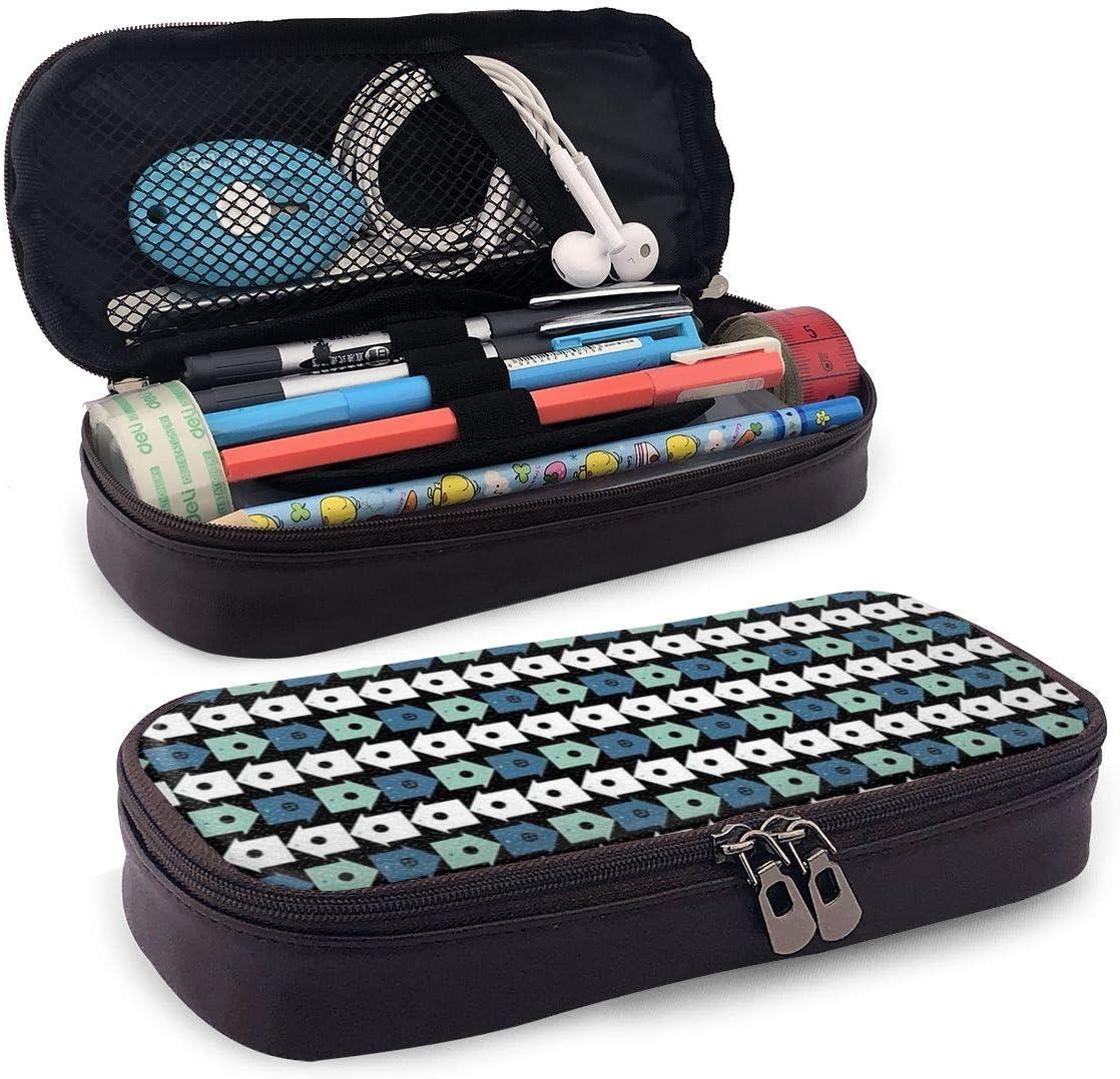 Estuche de lápices Bolso de bolígrafo Bolso de cuero Estudiantes duraderos con doble cremallera Organizador de caja para regalo de oficina escolar en casas de pájaros azules