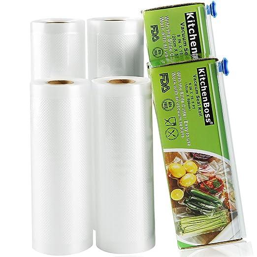 Bolsas de Vacío 4 Rolls 15 * 500cm y 20 * 500cm con Caja de Corte (No Más Tijeras) para Almacenaje de Alimentos,Sous Vide Cocina, Aprobación de la Fda ...