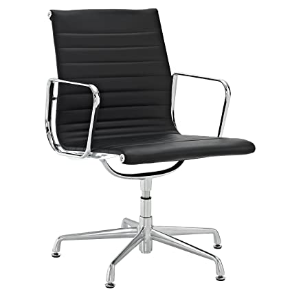 lexmod ribbed mid office. LexMod Ribbed Mid Back Conference Office Side Chair In Black Genuine Leather Lexmod