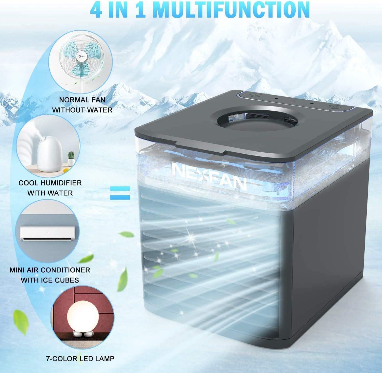 Mini Climatiseur 4 En 1 Avec Humidificateur Climatiseur Mobile blanc Refroidisseur Dair Climatiseur Portable USB Purification De Lair Fonction D/éclairage Ambiant /à LED 7 Couleurs blanc