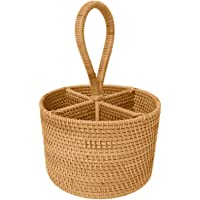 Hand-Woven Rattan Storage Basket Portable Round Four Compartment Storage Fruit Baskets Hand-Made Durable Basket is…