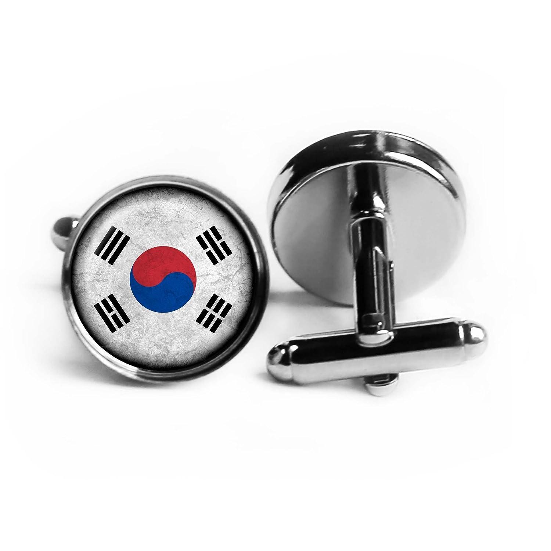South Korea South Korean Flag Silver Cufflinks
