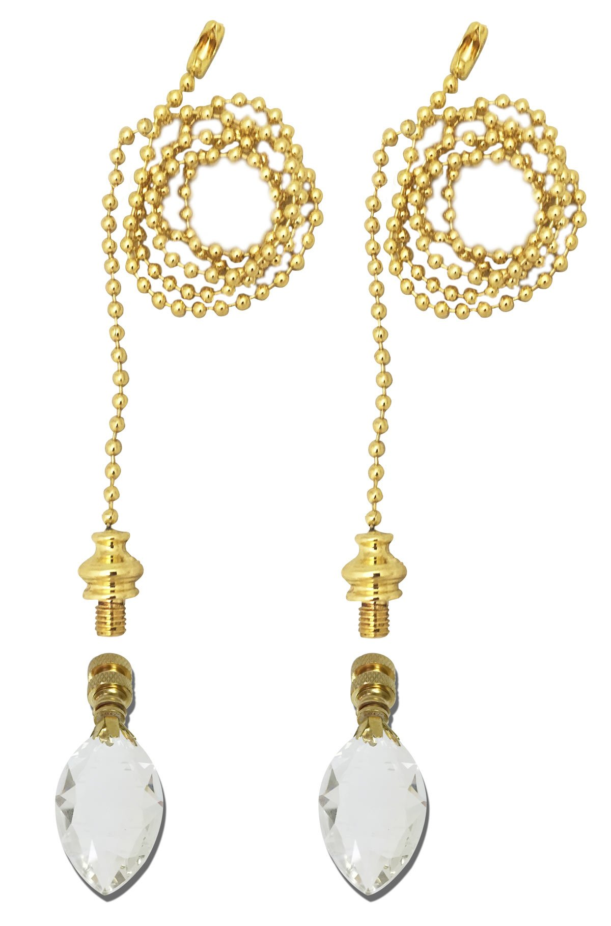 Royal Designs Fan Pull Chain with Pear Shaped Crystal Finial - Polished Brass - Set of 2