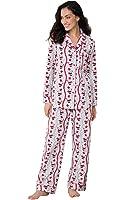 PajamaGram Women's Vintage Santa Flannel Pajamas, Multicolored