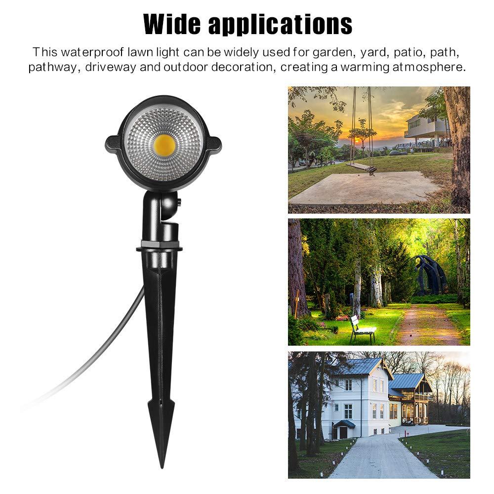 Ourleeme COB Lawn Light Led Garden Spotlights 7W Waterproof Spike Light for Yard Pathway