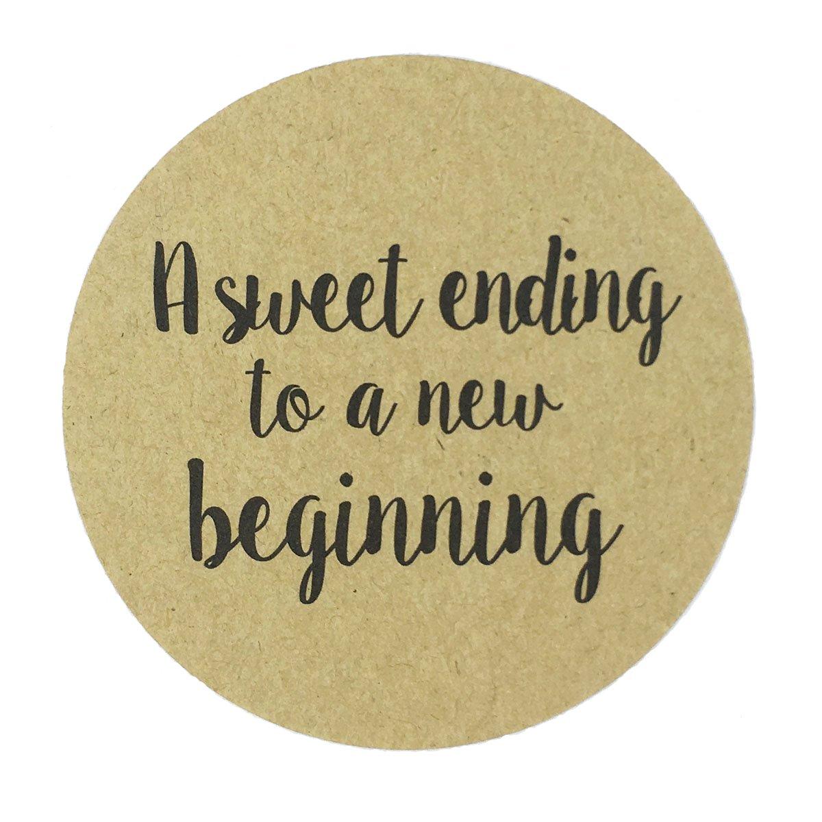 80-2'' Kraft a Sweet Ending to a New Beginning Stickers, Wedding Favor Sticker Labels