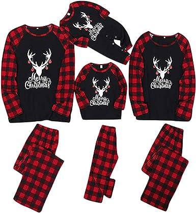 Fossen MuRope 2 Piezas Pijama Familiar a Juego Navidad Merry Christmas Pijamas Navideños Familiares Iguales Pijama Mujer Hombre Invierno Rayas Negras ...