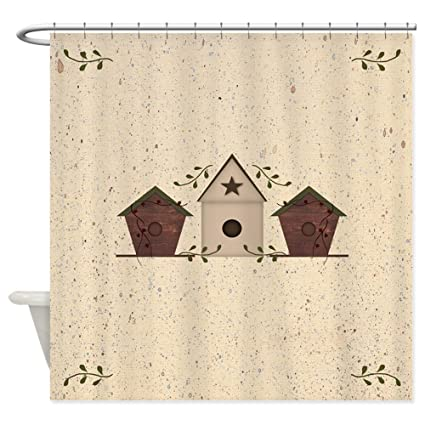 CafePress Primitive Birdhouses Shower Curtain Decorative Fabric 69quot