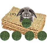 3 Pack Rabbit Bunny Grass Mat with 5 Pcs Natural Chew Sticks Rabbit Toys, Breathable Reed Hamster Pad Straw Chew Toy, Edible