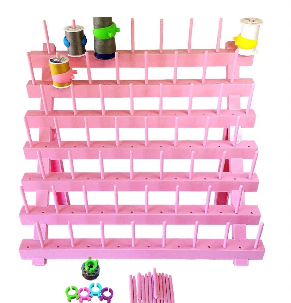 PeavyTailor Foldable Thread Rack Thread Holder Spool Thread Storage Rack Thread Spool Stand Sewing Cone Storage Organizer, Sewing Quilting Embroidery Pink peavytailor.com P2017-7