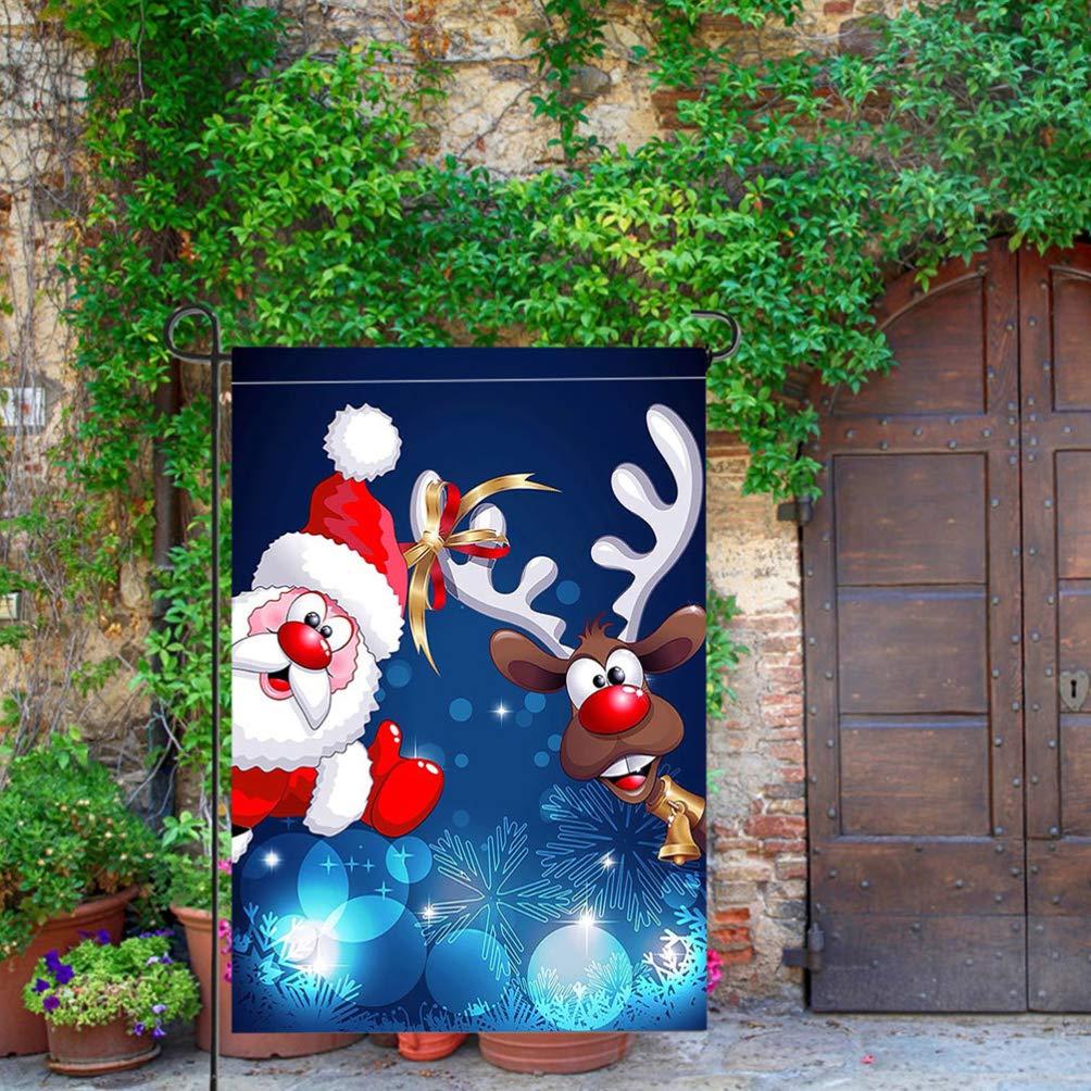 Yardwe Drapeau de no/ël Jardin Recto-Verso p/ère No/ël Impression banni/ère imperm/éable Bandana Garde d/écoration pour Jardin Jardin Drapeau p/ôle Titulaire du Drapeau