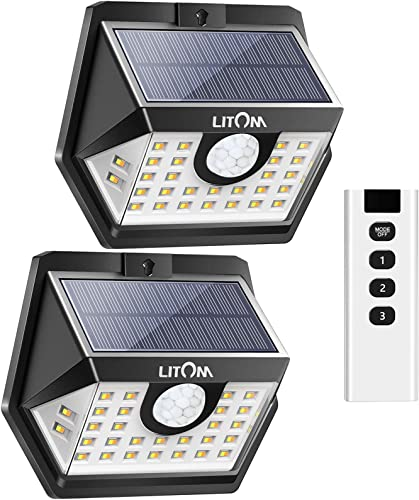 LITOM Solar Motion Lights White Light Warm Light 6 Lighting Modes and IP67 Waterproof Rating for Garden, Patio, Yard 2 Pack