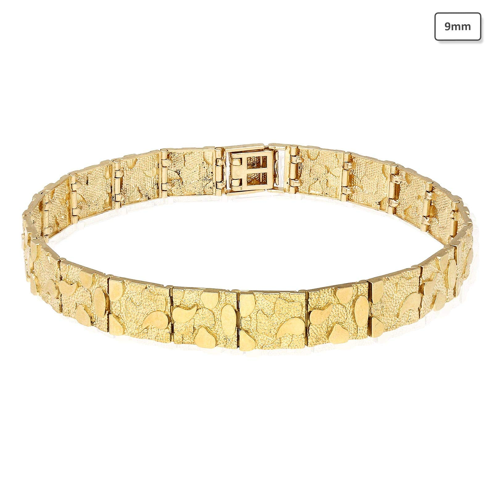 Solid 10K Yellow Gold 3.5mm-9mm Nugget Diamond-Cut Bracelet 8.25'', 9