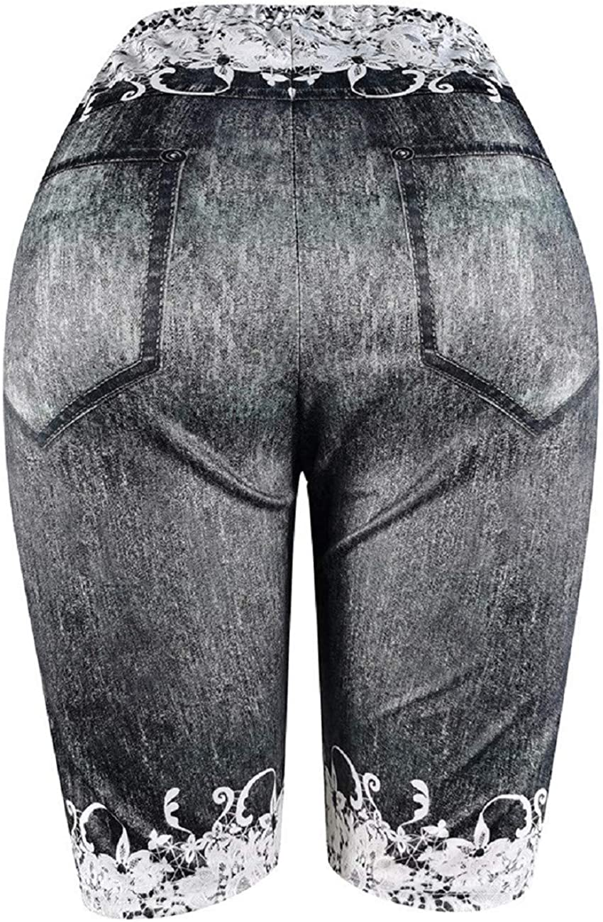 Tsmile Women Plus Size White Lace Print Butt Lift High Waisted Workout Knee Length Gym Leggings Yoga Shorts Pants