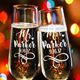 Lily's Atelier Set of 2, Hand Engraved Mr. Mrs. Last Name & Date Custom Wedding Toast Champagne Flute Set, Wedding Toasting Glasses - Etched Flutes for Bride & Groom Customized Wedding Gift #EH3