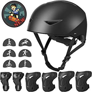 WayEee Skateboard Helmet and Knee Pads Set for Kids 5-16yrs - Upgraded Adjustable Youth Bike Helmet Elbow Pads Wrist Guards Protective Gear Set for Girls Boys Roller Skating Cycling Scooter BMX Riding