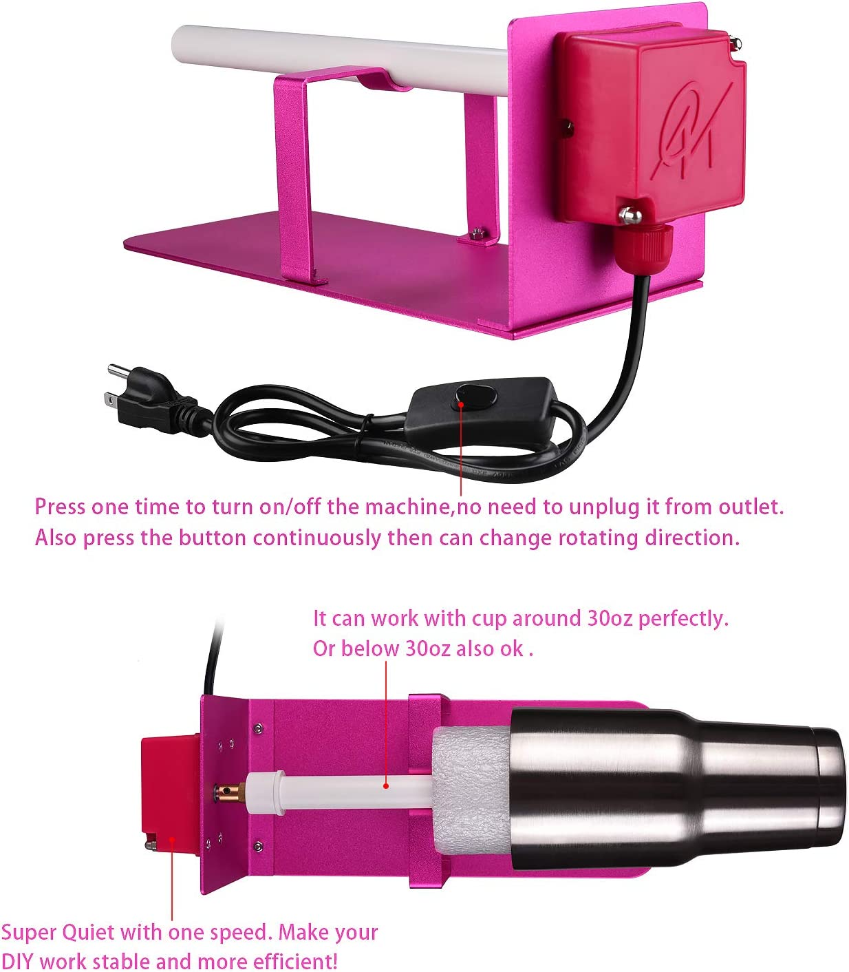 Cup Turner Spinner,Pink Metal Cup Tumbler Turner Machine for DIY Epoxy Cup Turner Supplies Crafts Tumbler with Certified Power Supply and Extra Silicone Epoxy Brush /…
