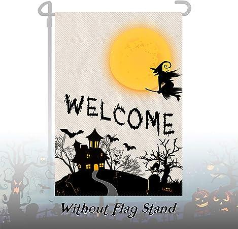 Halloween Garden Flag,Scary Halloween Decoration Welocme Falg Pumpkin Bats Cat Yard Flag Double Sided,Mini Yard Flag ,Small Fall Garden Flag for Outdoor Front Yard Porch Patio Lawn 12.5 x 18 Inch