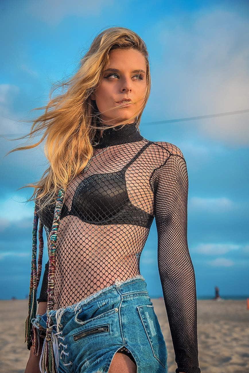 Leg Avenue Women's Fishnet high Neck Long Sleeved Bodysuit with snap Crotch, Black, O/S: Leg Avenue: Clothing