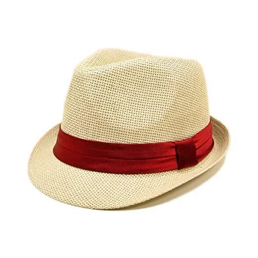 99bfd3ffc6ec34 TrendsBlue Classic Natural Fedora Straw Hat, Burgundy Band at Amazon ...