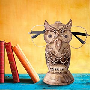 Earthly Home Handcrafted Wooden Spectacle Eyeglasses Holder White Owl Shaped Eyewear Retainer-Sunglasses Holder Display Stand- Optical Glass Accessories, Animal Shaped Home Office Desk Decor