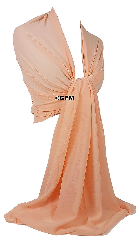 GFM Georgette Abend-Schal Brautjungfern Wickeltuch f/ür Hochzeiten als Hijab GS