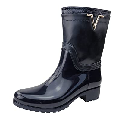 Damen Stiefel Gummistiefel Lack Boots Stiefeletten Glanz ST15 Outdoor (38, Schwarz)