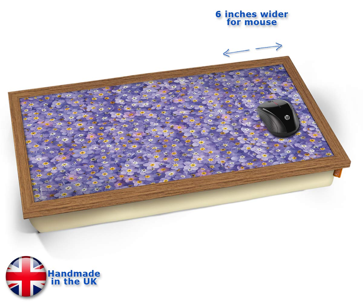 KICO Purple Flowers Forget Me Nots Cushioned Bean Bag Laptop Lap Tray Desk - Built-in EMF Shield (Electro Magnetic Field) - Wood Effect Frame