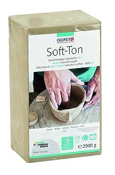 Glorex GmbH 6 8075 301 Soft Ton weiß 2500 g, lufthärtend oder brennbar