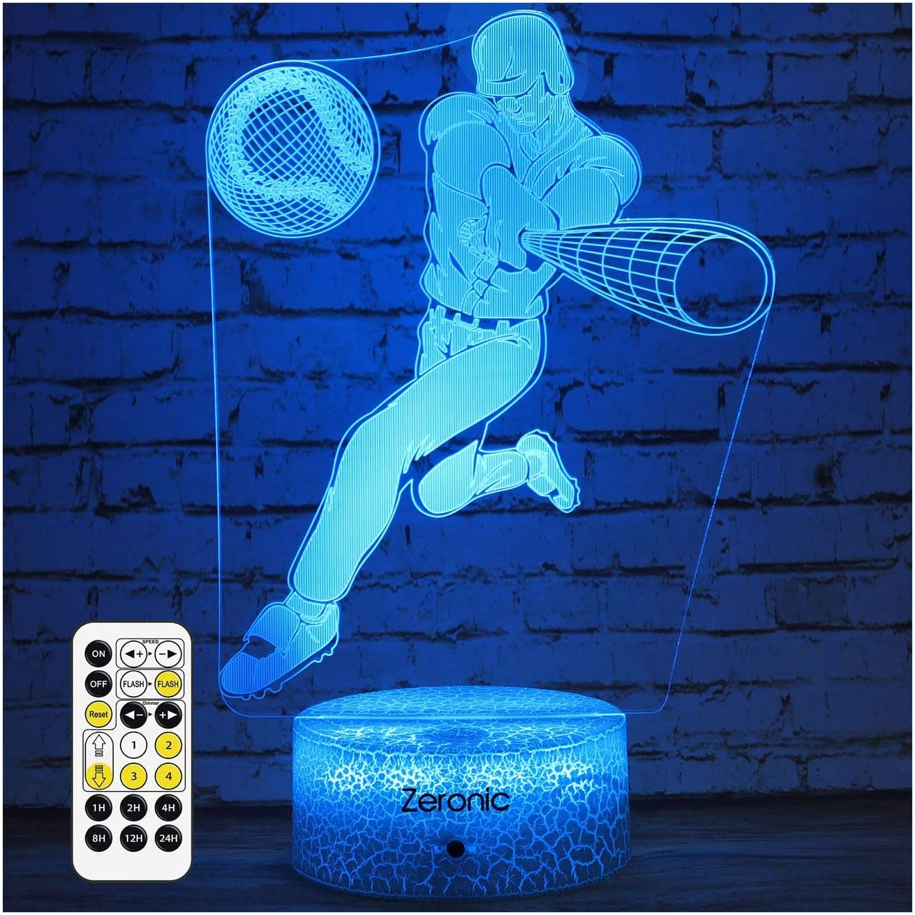 Baseball Gifts for Boys Men Baseball Decor Bedroom Baseball Lamp with 7 Color Changing Touch & Remote Control Kids 3D Led Baseball Night Light Christmas Birthday Gifts for Baseball Coach Player Fans