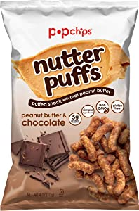 Popchips Nutter Puffs Peanut Butter & Chocolate 4 oz Bags (Pack Of 5)