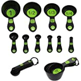 Srenta 10 Piece Green Sturdy Easy Read Plastic Measuring Cups and Spoons with Large Print, Perfect for Cooking and Baking.