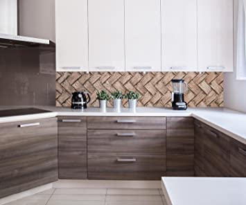 Kuchenruckwand Gewebtes Holz Nischenruckwand Spritzschutz Design
