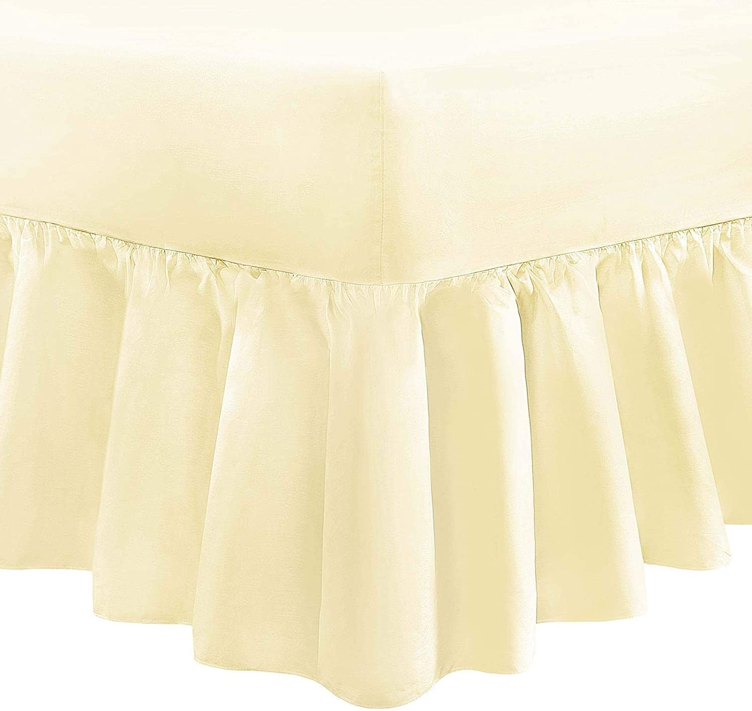 400 THREAD COUNT 100/% EGYPTIAN COTTON EXTRA DEEP FRILLED FITTED VALANCE SHEETS
