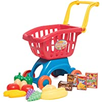 Toy Chef - Colorful Shopping Cart with Fruit Set for Kids, Pretend Play Grocery Store, Play Food Set for Toy Kitchen