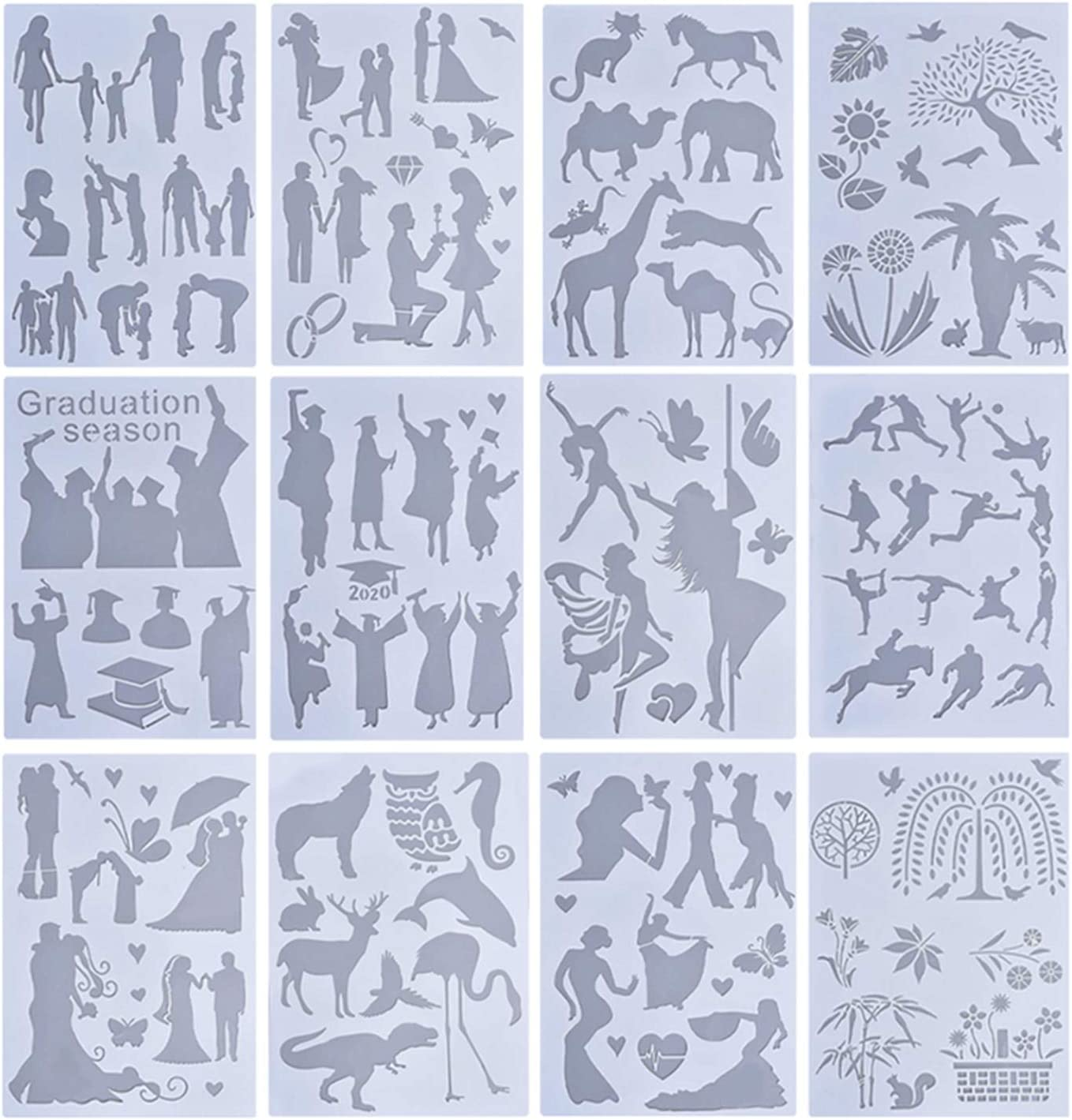 37YIMU 12Pcs Reusable Mix Style Painting Scrapbook Painting Stencils, A4 Size Stencil Painting Template Floor Wall Tile Fabric Furniture Template DIY Embossing Album Tool Home Decor