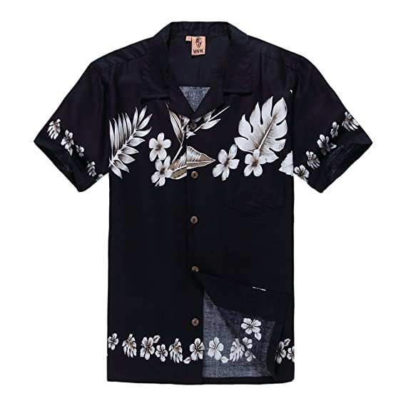 401a40791891d Chemise hawaïenne d'hommes t-shirts Chemise d'aloha Hibiscus Traverser Bleu  foncé: Amazon.fr: Vêtements et accessoires