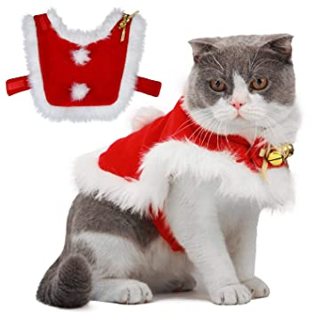 Amazon.com : Legendog Cat Costume Christmas Adjustable Cat Santa Clothing  Pet Costumes Pet Apparel for Small Dogs and Cats (Cat Christmas Costume  with Bell) ... - Amazon.com : Legendog Cat Costume Christmas Adjustable Cat Santa