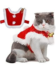 Legendog Cat Christmas Costume, Adjustable Santa Pet Cape Cat Santa Clothes with Bells Xmas Outfit for Dogs & Kitty Sweet Gift