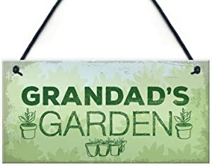 MAIYUAN Grandad's Garden Hanging Summer House Shed Wood Sign Plaque Birthday Gifts for Grandad 10x5(UG1290)