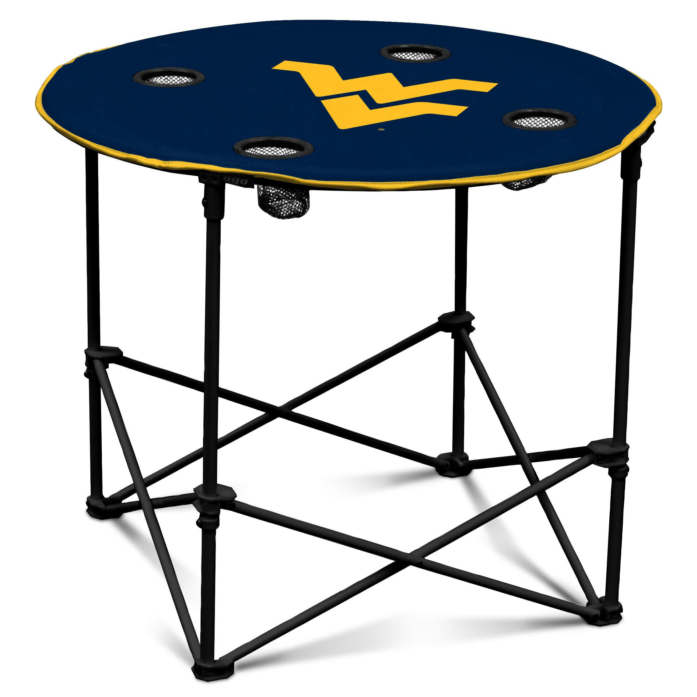 West Virginia Mountaineers Collapsible Round Table with 4 Cup Holders and Carry Bag by Logo Brands