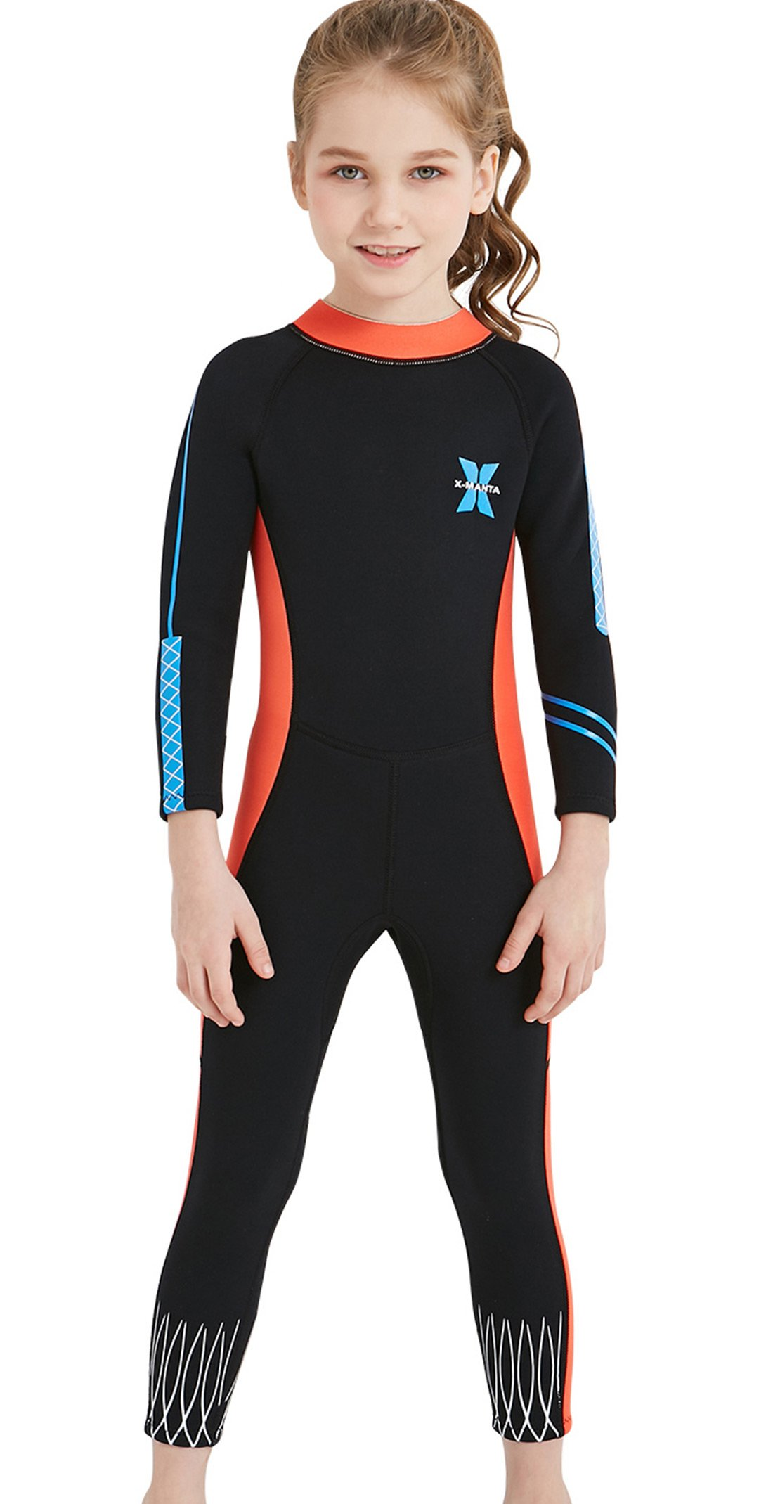 Girls Long Sleeve Swimsuit One Piece UV Sun Protection Full Suit Thermal Diving Wetsuit Swimwear Black L